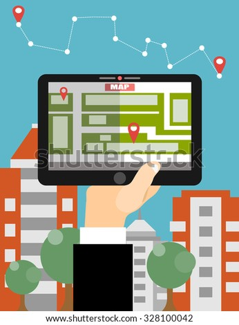 Modern flat design vector illustration concept of man holding tablet with mobile gps navigation on a screen  - stock vector