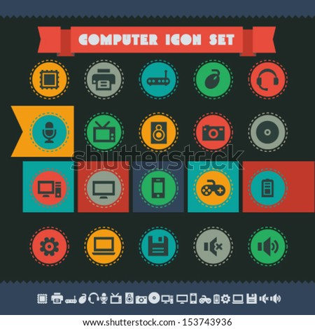 Modern flat design vintage computer icons, on circles - stock vector