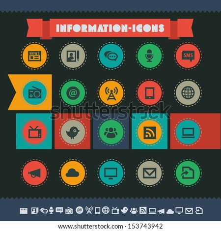 Modern flat design vintage information icons, on circles - stock vector