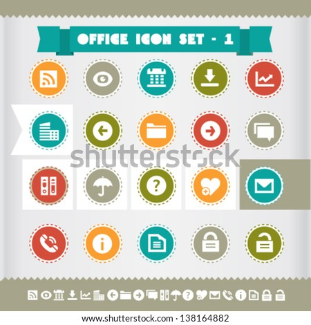 Modern flat design vintage office icons set 1, on circles - stock vector