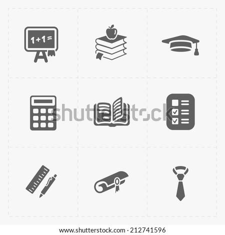 Modern  flat education icons set on White - stock vector