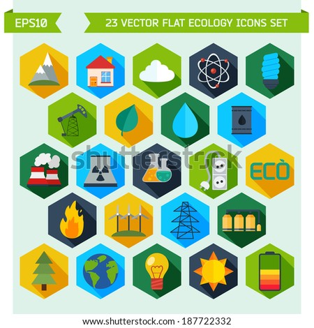 Modern flat energy vector icons set for your design - stock vector