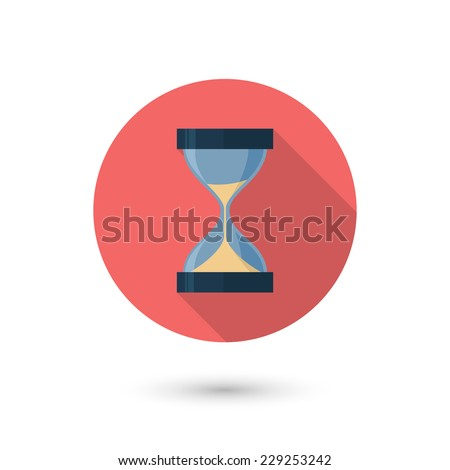 Modern flat hourglass icon with long shadow. Isolated on white background. Vector illustration, eps 10. - stock vector