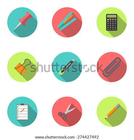 Modern flat icon vector illustration collection with long shadow. Stapler, scissors, clip, stationery knife, notebook, calculator, pencil, button, stationery set Symbol and object. Isolated - stock vector