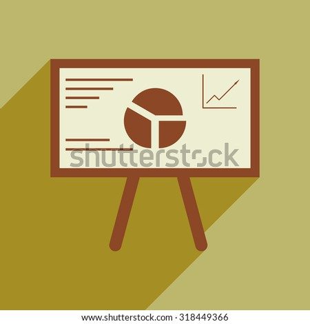 Modern flat icon with shadow chart diagram presentation  - stock vector