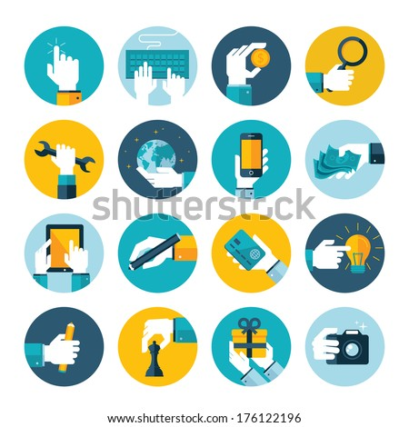 Modern flat icons vector collection of hand using devices, using money, repairs, write, give a gift, play chess, touching touchscreen, in business situations, in design, marketing process. - stock vector
