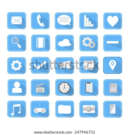 Modern flat icons vector collection with long shadow effect and blue color for web site.