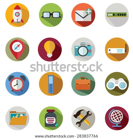 Modern flat icons vector collection with long shadow effect in stylish colors of business elements, office equipment and marketing items. Isolated on white background.  - stock vector