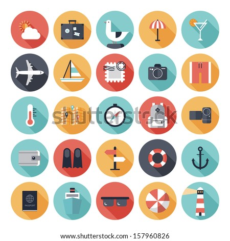 Modern flat icons vector collection with long shadow effect in stylish colors of traveling, tourism and vacation theme. Isolated on white background. - stock vector