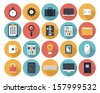 Modern flat icons vector collection with long shadow effect in stylish colors of web design objects, interface elements, business and office items.  Isolated on white background.   - stock vector