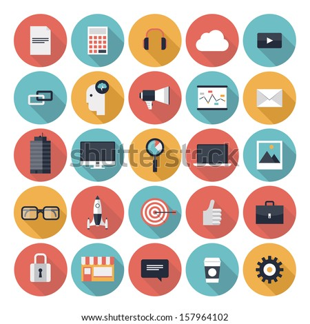 Modern flat icons vector collection with long shadow effect in stylish colors of web design objects, business, office and marketing items. Isolated on white background.  - stock vector