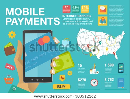 Modern flat infographics about mobile payments from credit card and near field communication. Transaction, paypass and NFC. Vector illustration. Communication technology concept. - stock vector