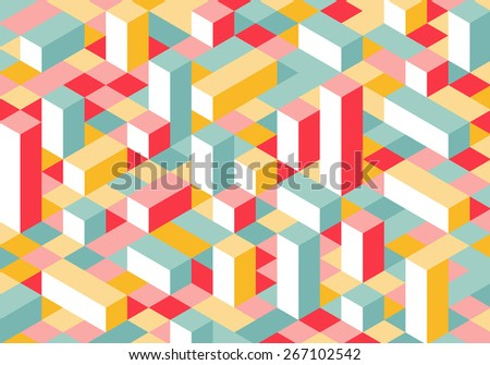 Modern Flat Isometric Background. Colorful Vector Texture with Parallelepipeds. - stock vector