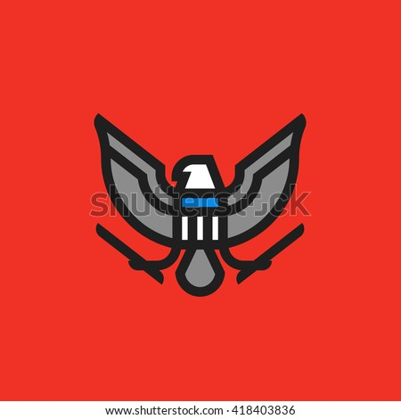 Modern flat line heraldry symbol of stylized american eagle with shield - stock vector