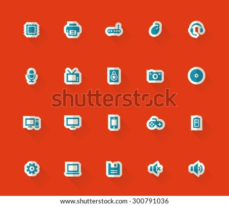 Modern flat material paper computer icons - stock vector