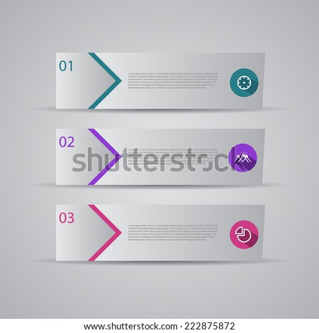 Modern flat numbered banners for tutorial,sale and advertising. - stock vector