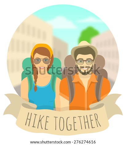 Modern flat round vector illustration of a smiling couple of young girl and boy tourists with backpacks on the city landscape with ribbon. Tourism and travel concept. Hiking and backpacking banner - stock vector