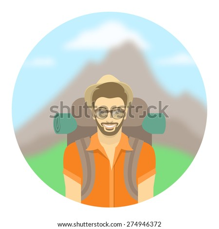 Modern flat round vector illustration of a smiling young man tourist with a backpack on the background of mountain landscape. Hiking and camping activity concept. Happy hipster guy explores the world. - stock vector