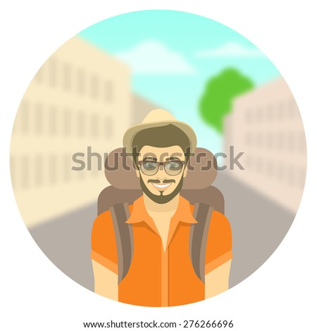 Modern flat round vector illustration of smiling young man tourist with backpack on background of city landscape. Tourism and travel to different countries concept. Hiking and backpacking concept - stock vector