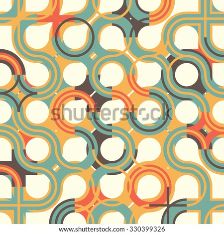 Modern flat seamless pattern with circle wavy ornament