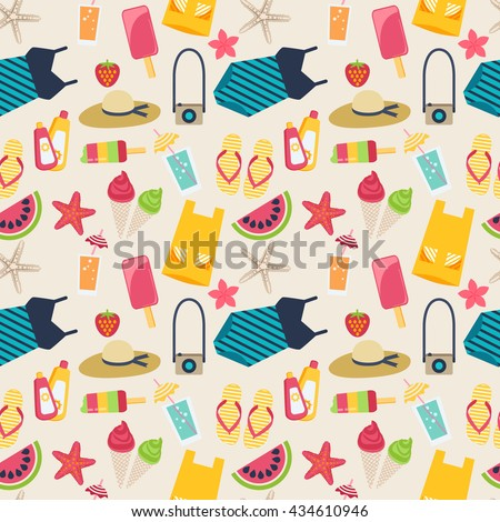 Modern flat seamless pattern with various beach essentials in flat style. Summer vacation holiday icons, seamless background