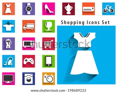 modern flat shopping icons with long shadow effect in stylish colors of shopping objects and items - vector eps10 - stock vector
