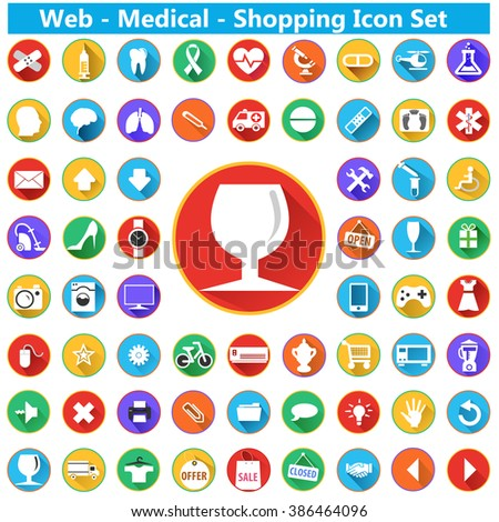 modern flat shopping icons with long shadow effect in stylish colors of shopping web medical objects and items - vector eps10 - stock vector
