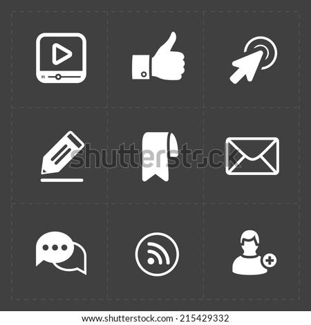 Modern flat social icons set  - stock vector