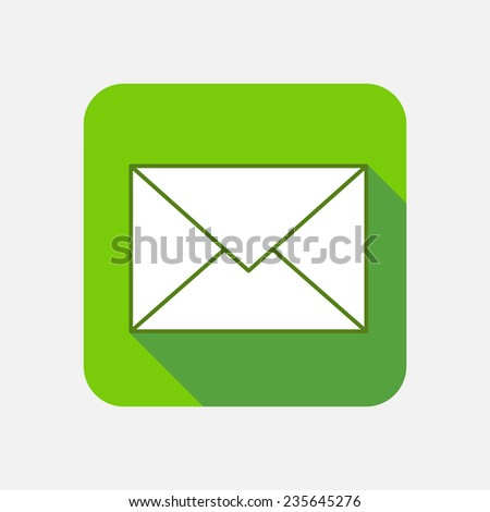 Modern flat square vector icon with long shadow. Mail, envelope, message, delivery, correspondence, document - stock vector