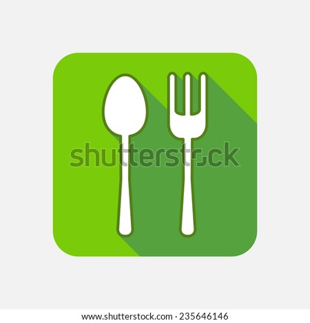 Modern flat square vector icon with long shadow. Spoon, fork, eat, food, court, breakfast, dinner, lunch, diner, restaurant, menu, foodcourt, meal, cafe, kitchen, dishware, serving, cutlery, banquet - stock vector