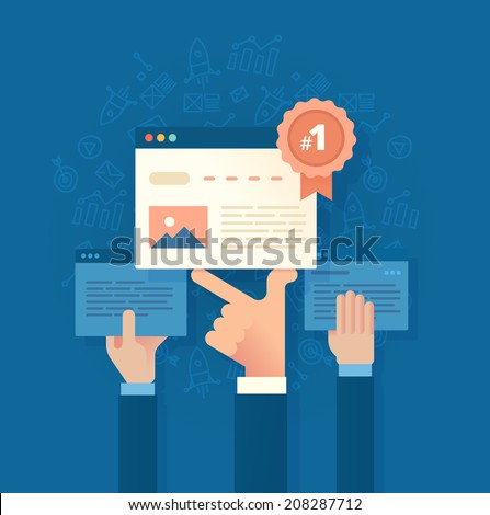 Modern flat style illustration of seo concept of developing and improving website ranking so that it ranks highly on search engine result pages - stock vector