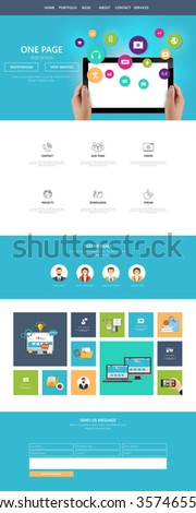 Modern Flat Style One page website design template. All in one set for website design that includes one page website template. - stock vector