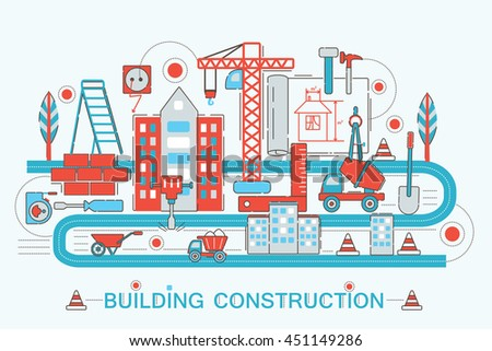 Modern Flat thin Line design Construction and architect building concept for web banner website, presentation, flyer and poster - stock vector