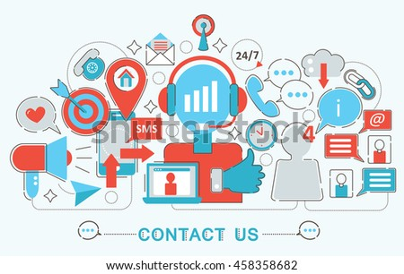 Modern Flat thin Line design Contact us support concept for web banner website, presentation, flyer and poster - stock vector