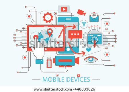 Modern Flat thin Line design mobile devices and gadgets concept for web banner website, presentation, flyer and poster - stock vector