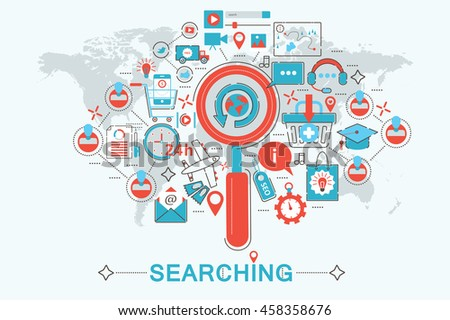 Modern Flat thin Line design Searching find concept for web banner website, presentation, flyer and poster - stock vector