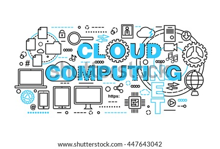 Modern flat thin line design vector illustration, concept of cloud computing technologies, protect computer networks and remote data storage, for graphic and web design - stock vector