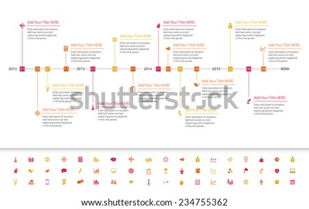 Modern flat timeline with red, orange and yellow milestones and icons - stock vector