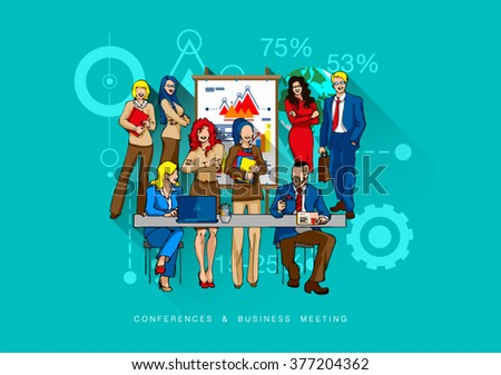Modern flat vector concept illustration for website, infographics, web banner template with outline bonus icons of coworking, business people training, corporate conference, sales meeting presentation - stock vector