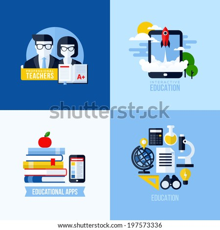 Modern flat vector concept of educational elements for websites and mobile apps. Icons set for education and online learning - stock vector