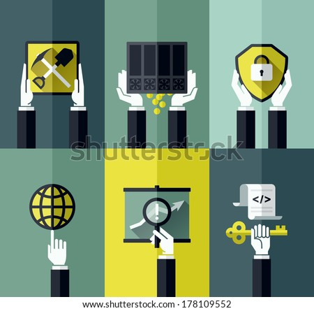 Modern flat vector design elements with hands holding digital currency symbols - stock vector