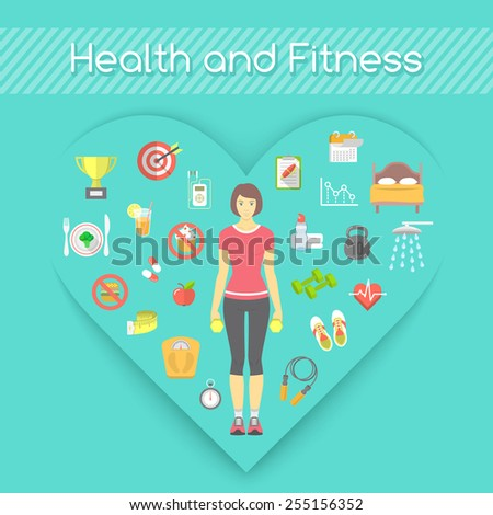 Modern flat vector fitness conceptual illustration. Slim girl in sportswear with conceptual icons of shaping and healthy lifestyle in the shape of heart - stock vector