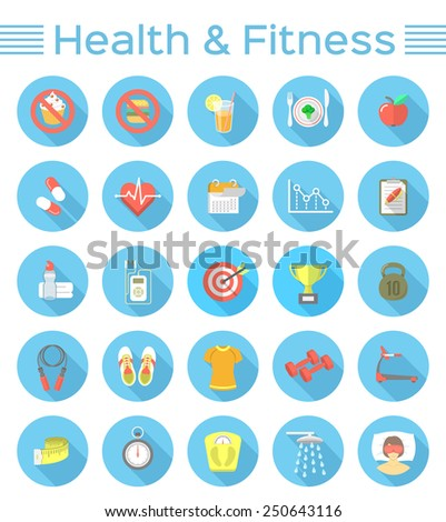 Modern flat vector icons of healthy lifestyle, fitness and physical activity. Diet, exercising in the gym, training equipment and clothing. Wellness icons for website, mobile application or print ads - stock vector