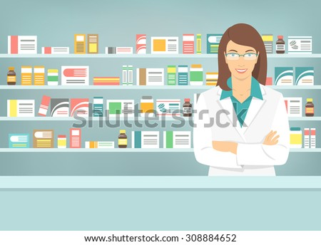 Modern flat vector illustration of smiling young attractive female pharmacist at the counter in a pharmacy opposite of shelves with medicines. Health care conceptual background - stock vector