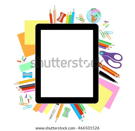 Modern flat vector illustration, tablet PC with school office supplies on white background