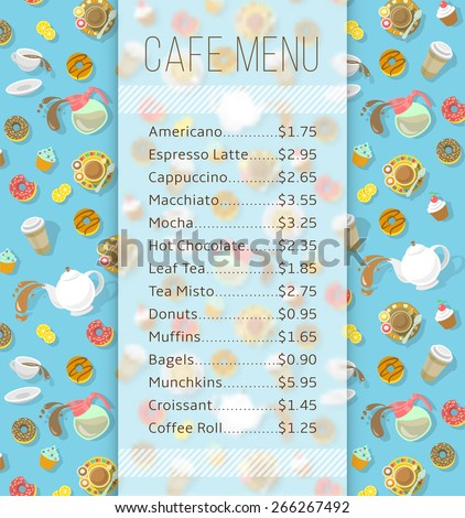 Modern flat vector menu template for cafe, cafeteria, bakery, coffee shop, fast food restaurant, bar with space for text and icons of tea, coffee and sweets. Background for flyer or brochure design - stock vector