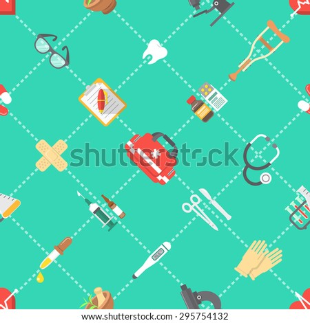 Modern flat vector seamless pattern with scattered icons of medicine, first aid, health care, insurance, treatment, medicines and medical equipment. Wrapping paper, wallpaper, website background - stock vector