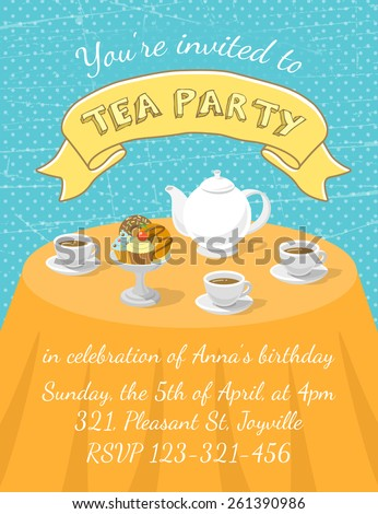 Modern flat vector tea party invitation card with tea cups, teapot and dessert on the table, with an inscription and ribbon. Invitation card template for web or mobile using, printing or animation - stock vector