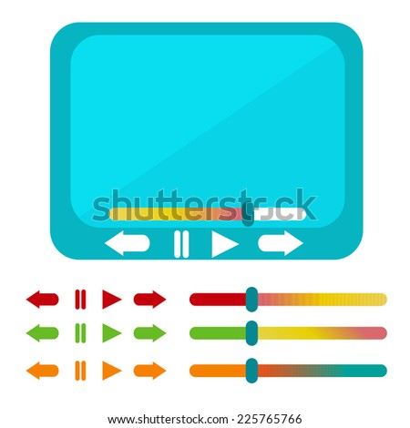 Modern flat video player interface. Vector illustration. - stock vector