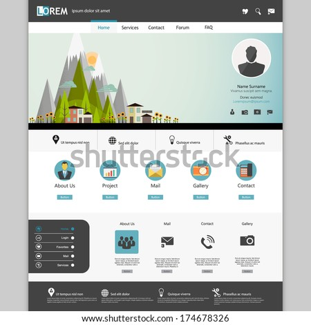 Modern Flat Website template design  with Eco landsacpe illustration. - stock vector